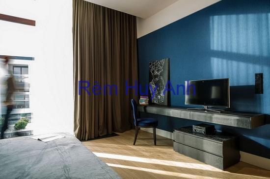 Rèm vải 1 lớp đơn màu phòng khách TM22-02