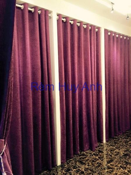 Rèm vải thô chống nóng màu tím đẹp 889-12