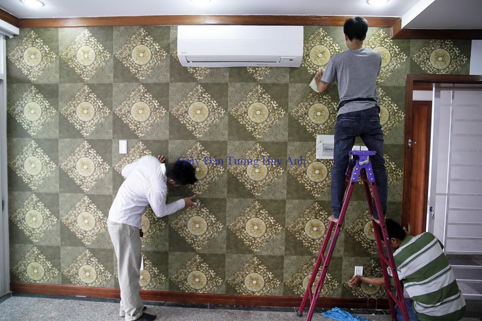 Thi công giấy dán tường ở Chung cư Hateco Hoàng Mai